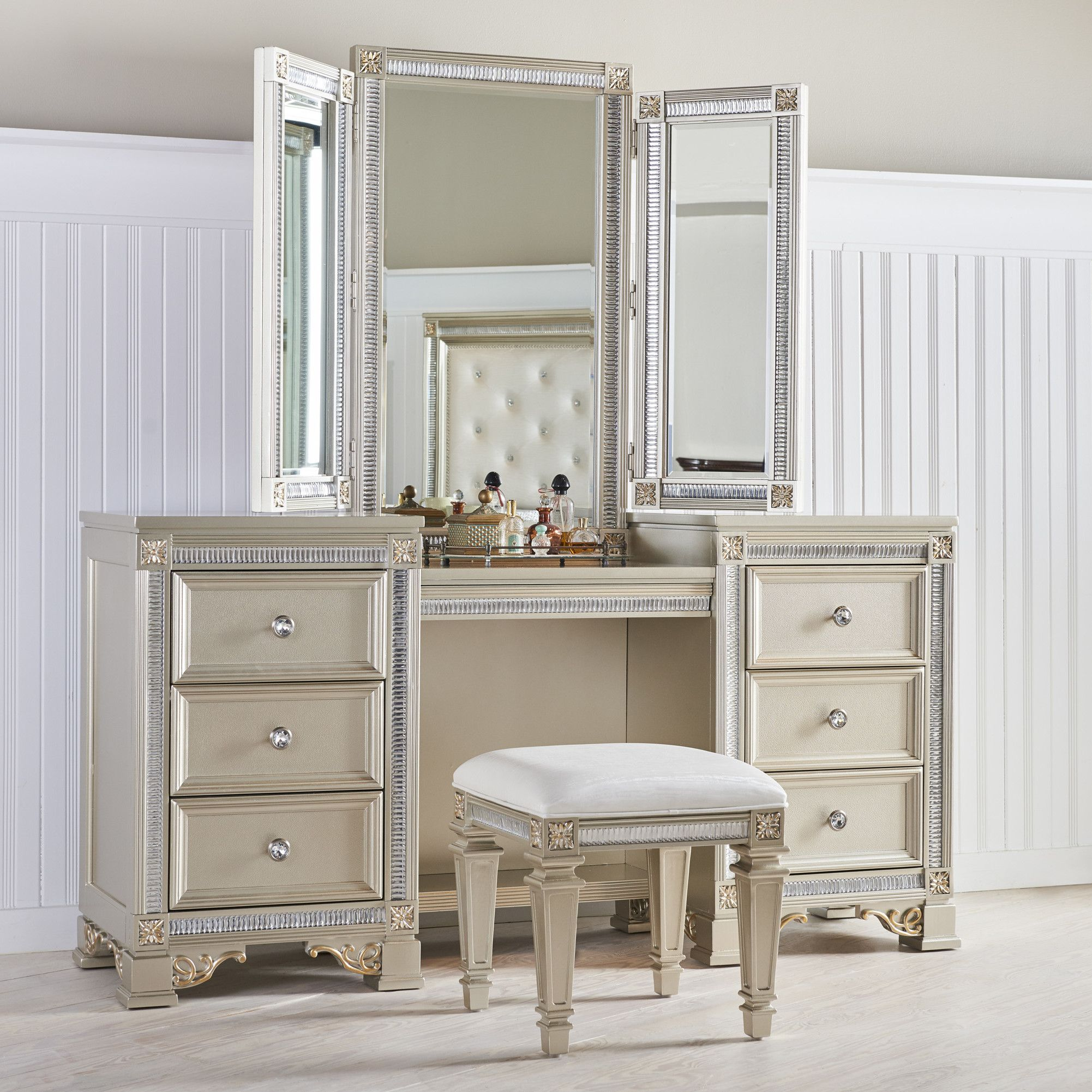 Fairfax home collections tiffany vanity with mirror bedroom