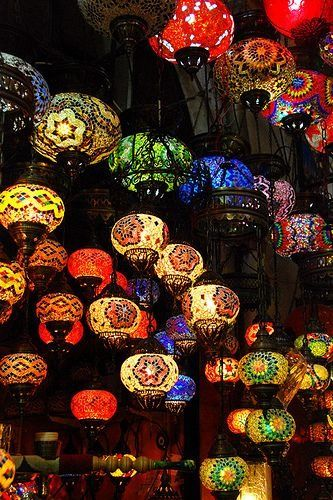Colourful lamps at one of the shops in Grand Bazaar, Istanbul