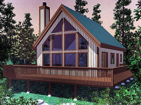 Plan 8146LB: Vacation Getaway Tiny houses plans with loft Cabin house plans Cabin plans with