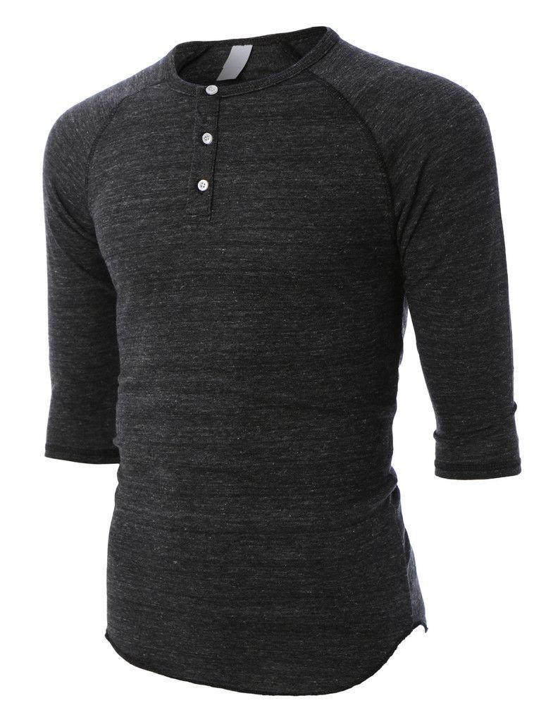 72a720f83670 LE3NO PREMIUM Mens Slim Fit Raglan 3/4 Sleeve Baseball Button Henley Shirt
