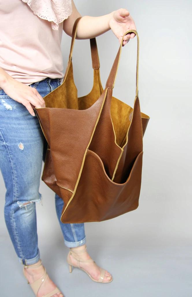 Duza Torebka Worek Ze Skory Naturalnej Bags Tote Bag Tote