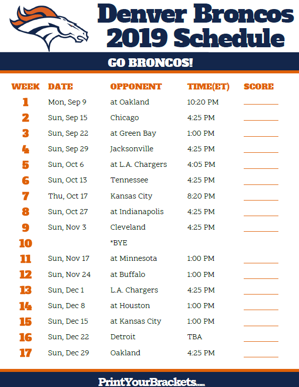 image relating to Printable Nfl Schedules named Printable Denver Broncos Plan - 2019 Time Printable