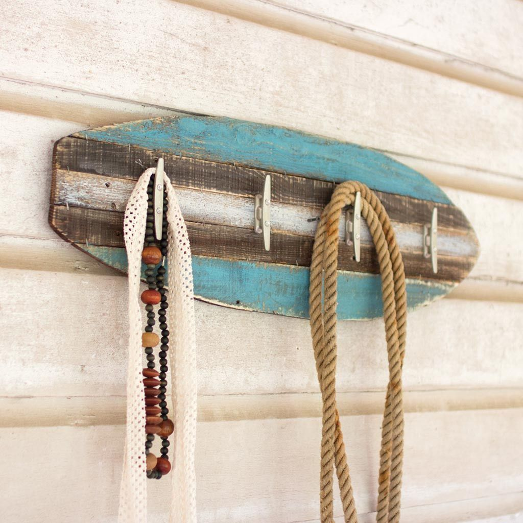 Rustic Surfboard Coat Rack Your Super Cool Wooden Will Hold Towels Beach Themed