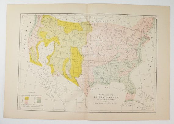 United States Map Rainfall Map 1894 Vintage Map 1800s Map to Frame