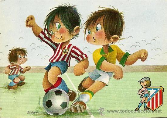 Bonita Postal Atletico De Madrid Edita C Y Z Nº 7235 31 B Deposito Legal Ano 1971 Dibujogabriel Akvarel Lyudi Shablony