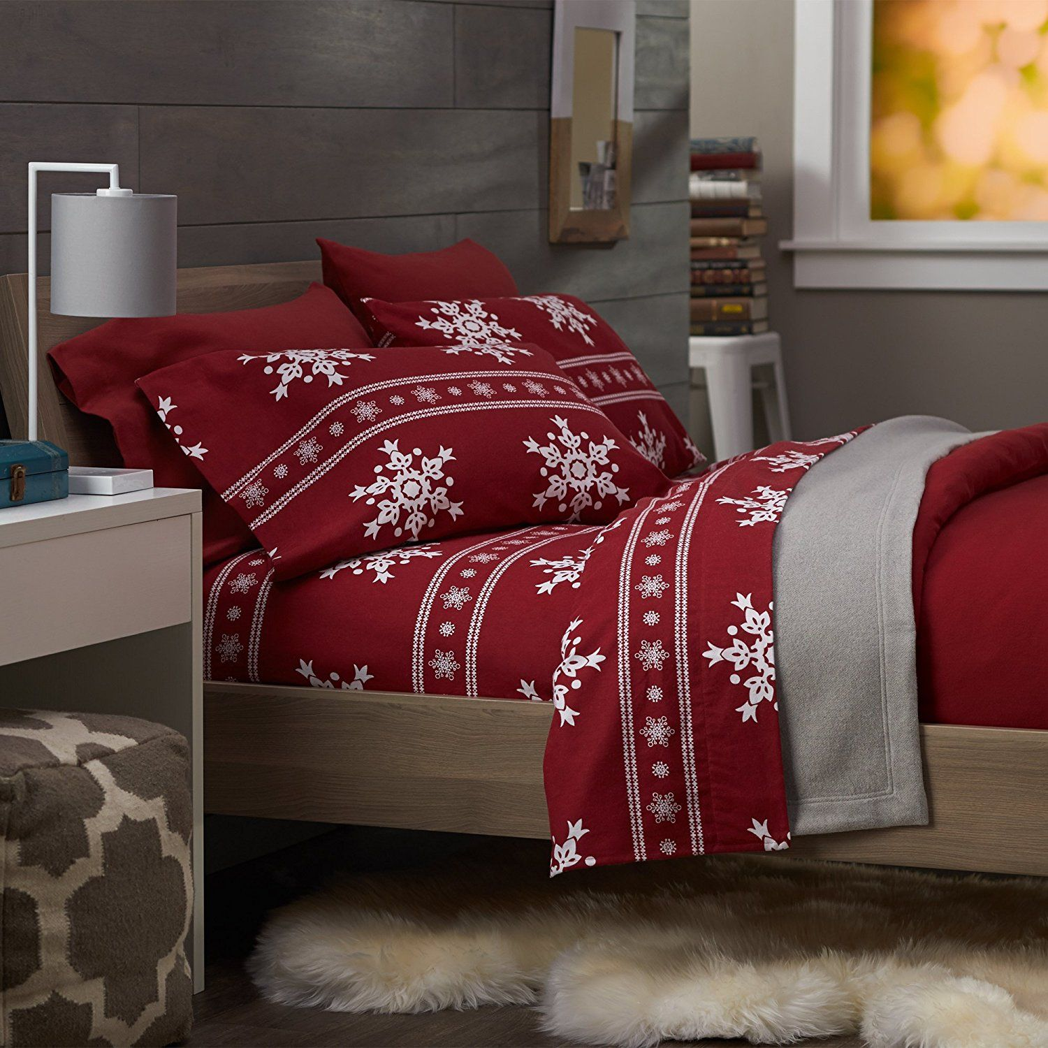 Red flannel sheets  There are tons of bed sheet sets out there in festive holiday prints