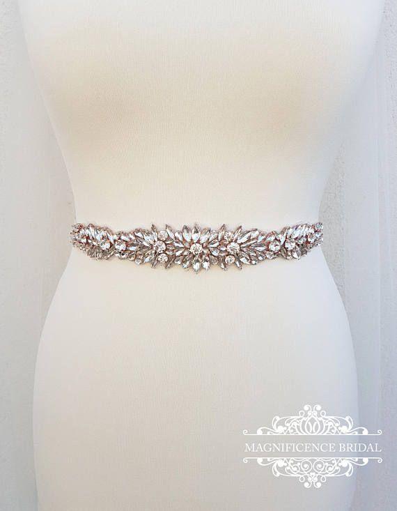 Rose Gold Wedding Bridal Sash Belt