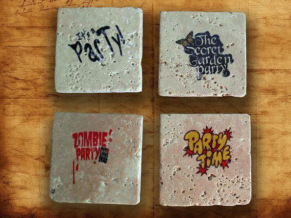 Partytime coaster four set natural stone,retro Tumbled Travertine,beer coaster print,home decor,retro coaster,Cat coaster