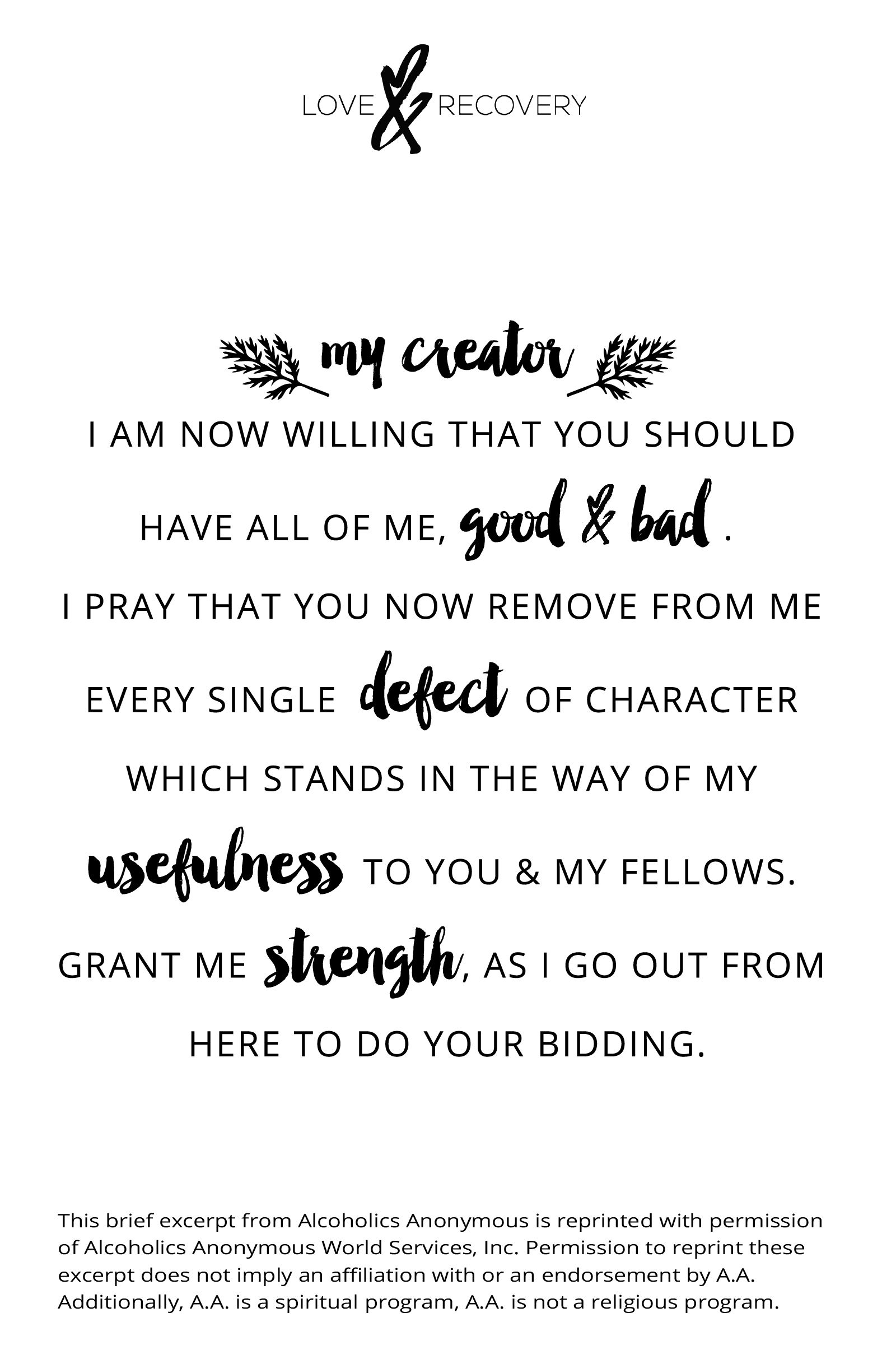 Aa Quotes Seventh Step Prayer Of Alcoholics Anonymous Prayers  Pinterest