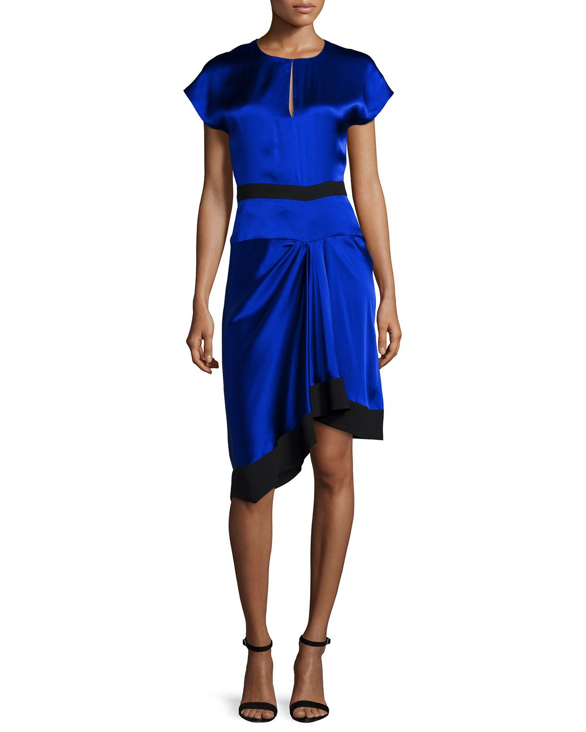 Short-Sleeve Two-Tone Dress, Imperial Blue