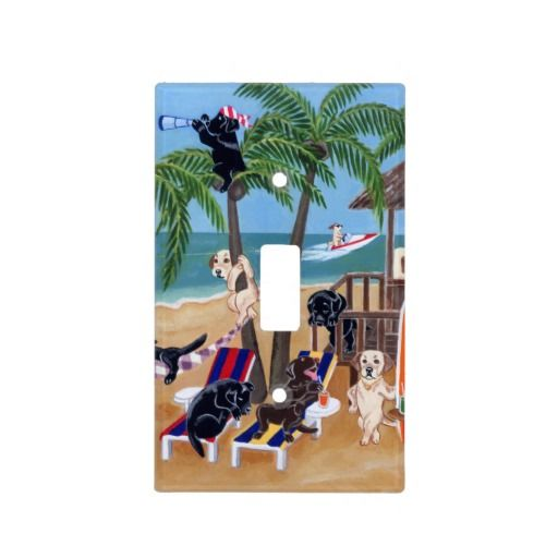 Island Summer Vacation Labradors Painting Light Switch Covers
