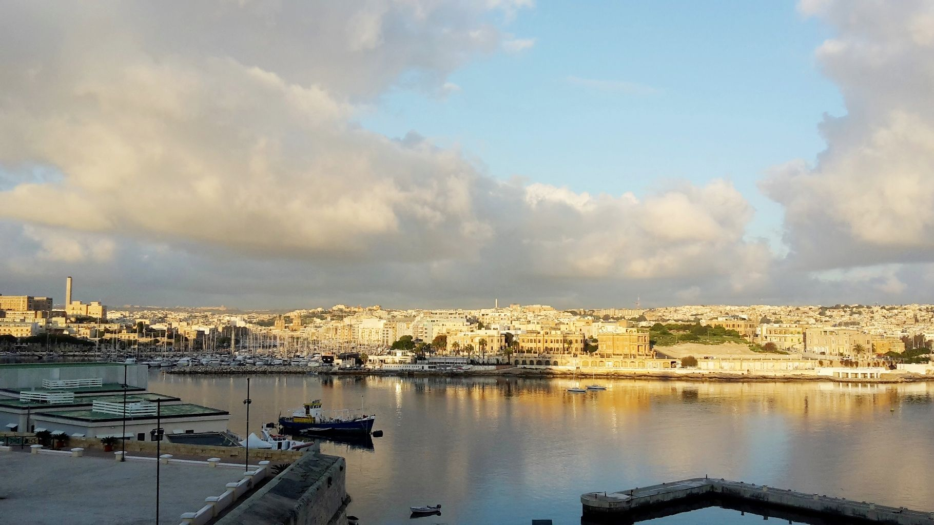 View over the Valletta harbor, from balcony of the Grand Excelsior Hotel. Malta 2016