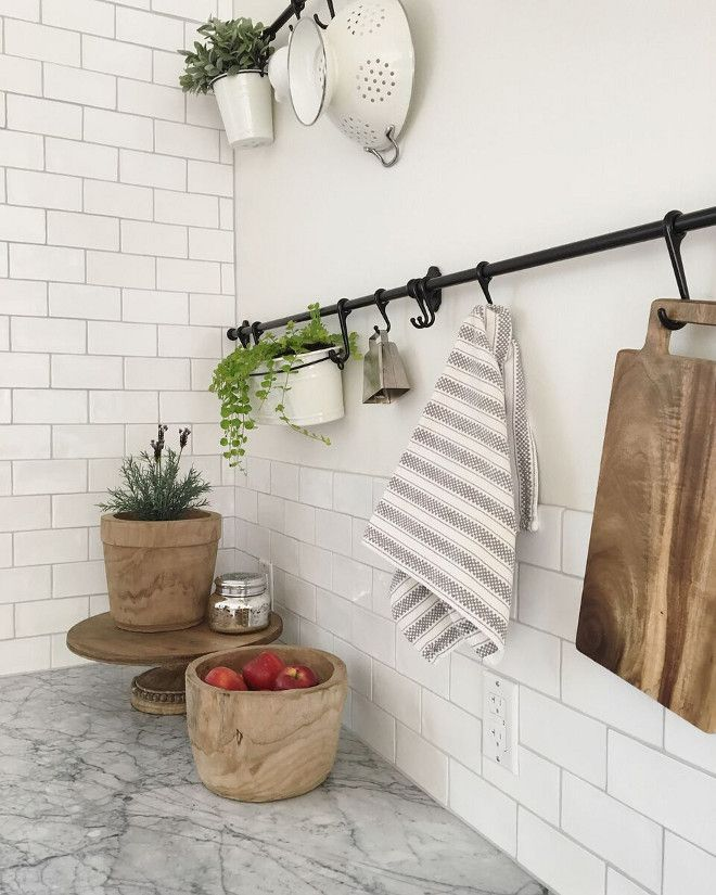 Hang Items On A Rod With Hooks In The Ktichen Grey Grout Color Fusion Pro In Rolling Fog Beautiful Homes Of Ins Creative Tile Beautiful Homes Kitchen Styling