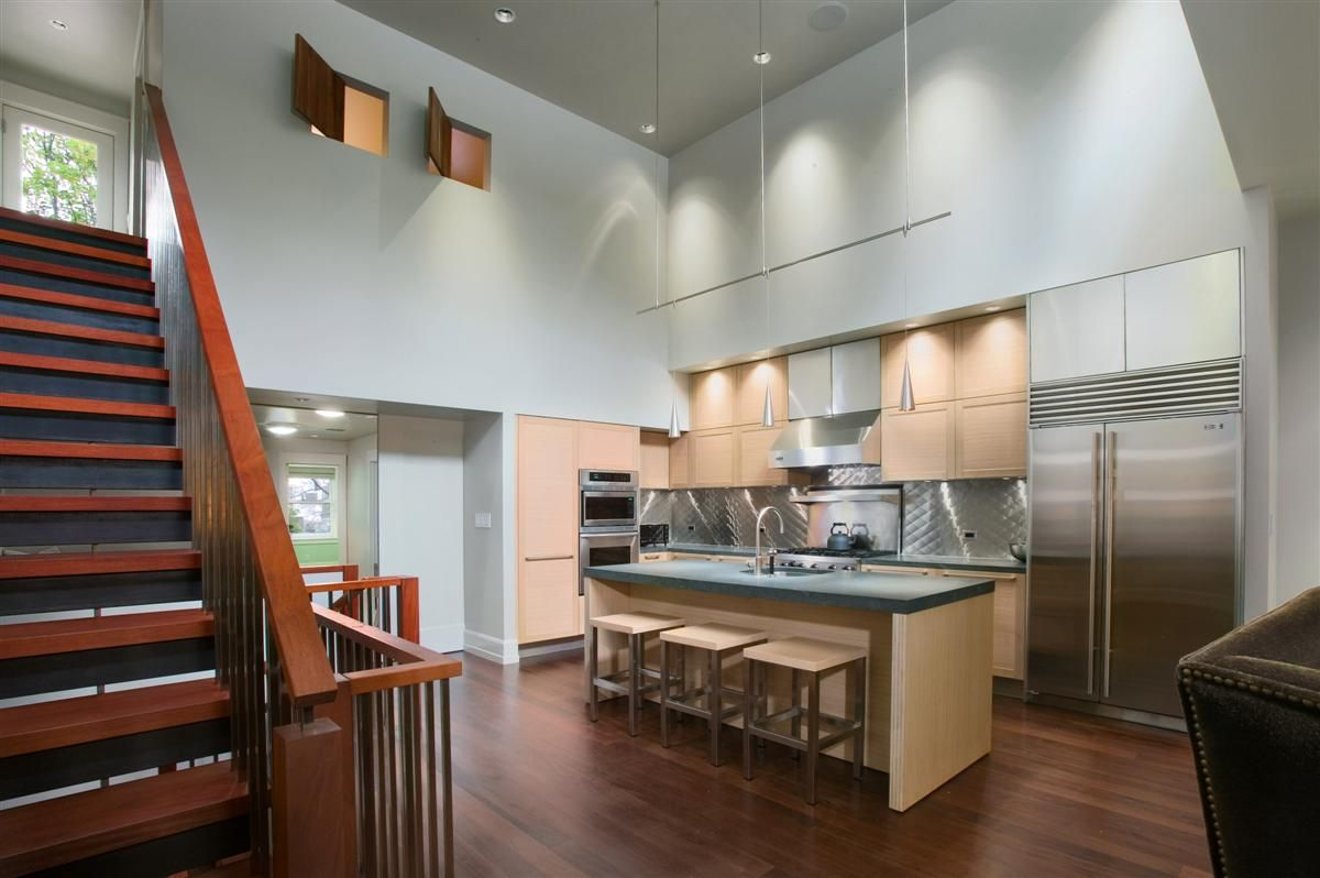 11 Stunning Photos Of Kitchen Track Lighting  Kitchen Track Extraordinary Kitchen Designs With High Ceilings Inspiration Design