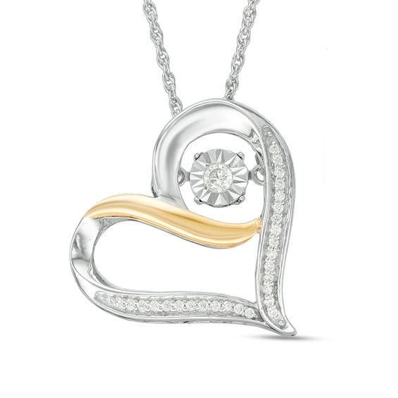 Zales Unstoppable Love 1/10 CT. T.w. Diamond Tilted Heart with Love Pendant in Sterling Silver CBJOoa