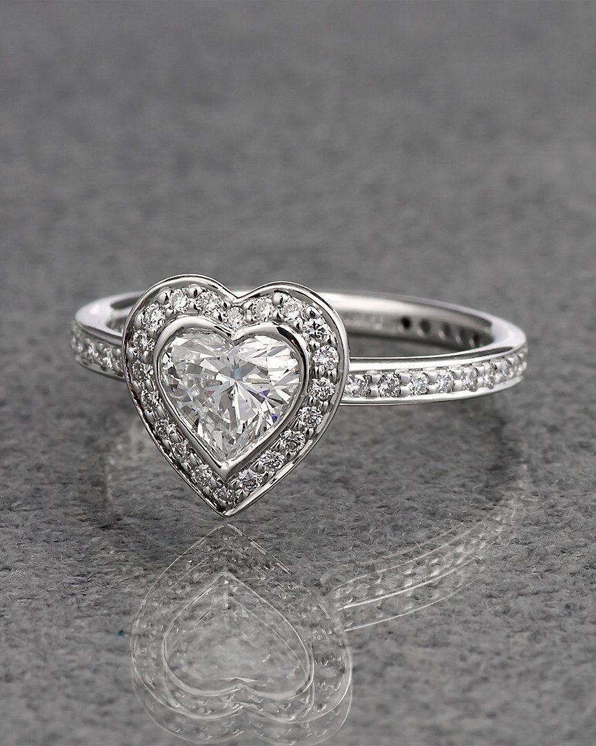 Ritani Platinum 099 Cttw Heart Shaped Diamond Halo Ring