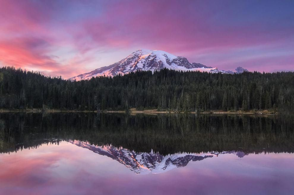 Take in the breathtaking autumn scenery at Mt. Rainier National Park, WA. #autumnscenery