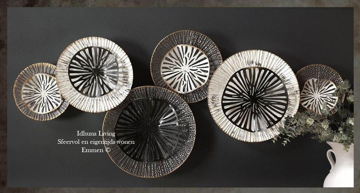 Moderne Wanddecoratie Metaal Zwart Wit Grijs 100 X 42 Cm Grijs Metaal Zwart Wit