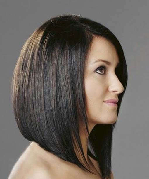 Bob Hairstyle Dark Brown Hair With Images Angled Bob