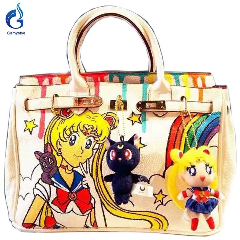 6307390b5993 Beautiful girl handbags Platinum painting graffiti handbags
