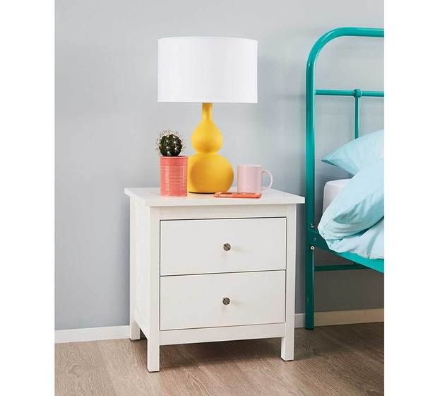 Best Hayman 2 Drawer White Bedside Table White Bedside Table 400 x 300