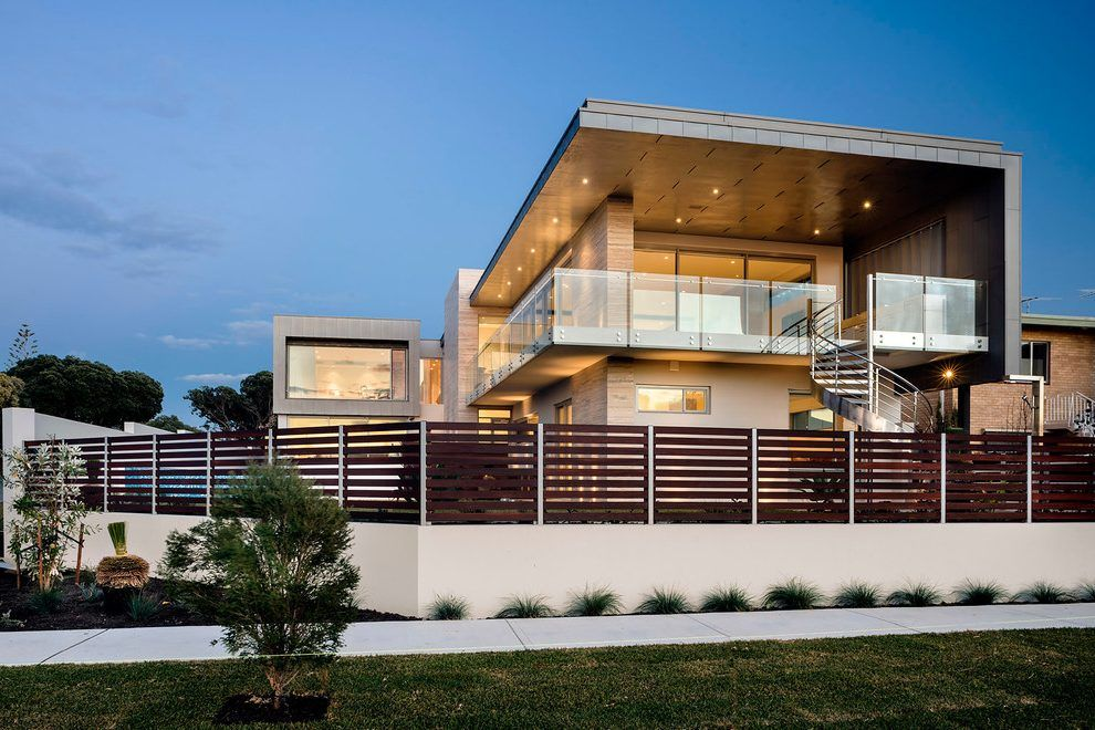 Modern Balcony Railing Design Exterior Exterior Modern With Privacy Fence Stucco Wall Glass Deck