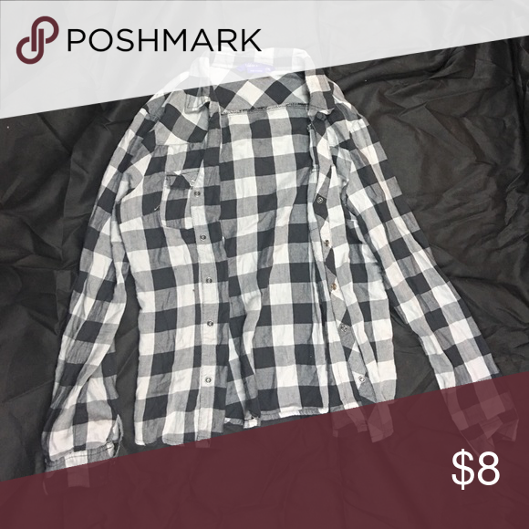 Checked Pattern Long Sleeve Button-up Top Very casual:) Tops