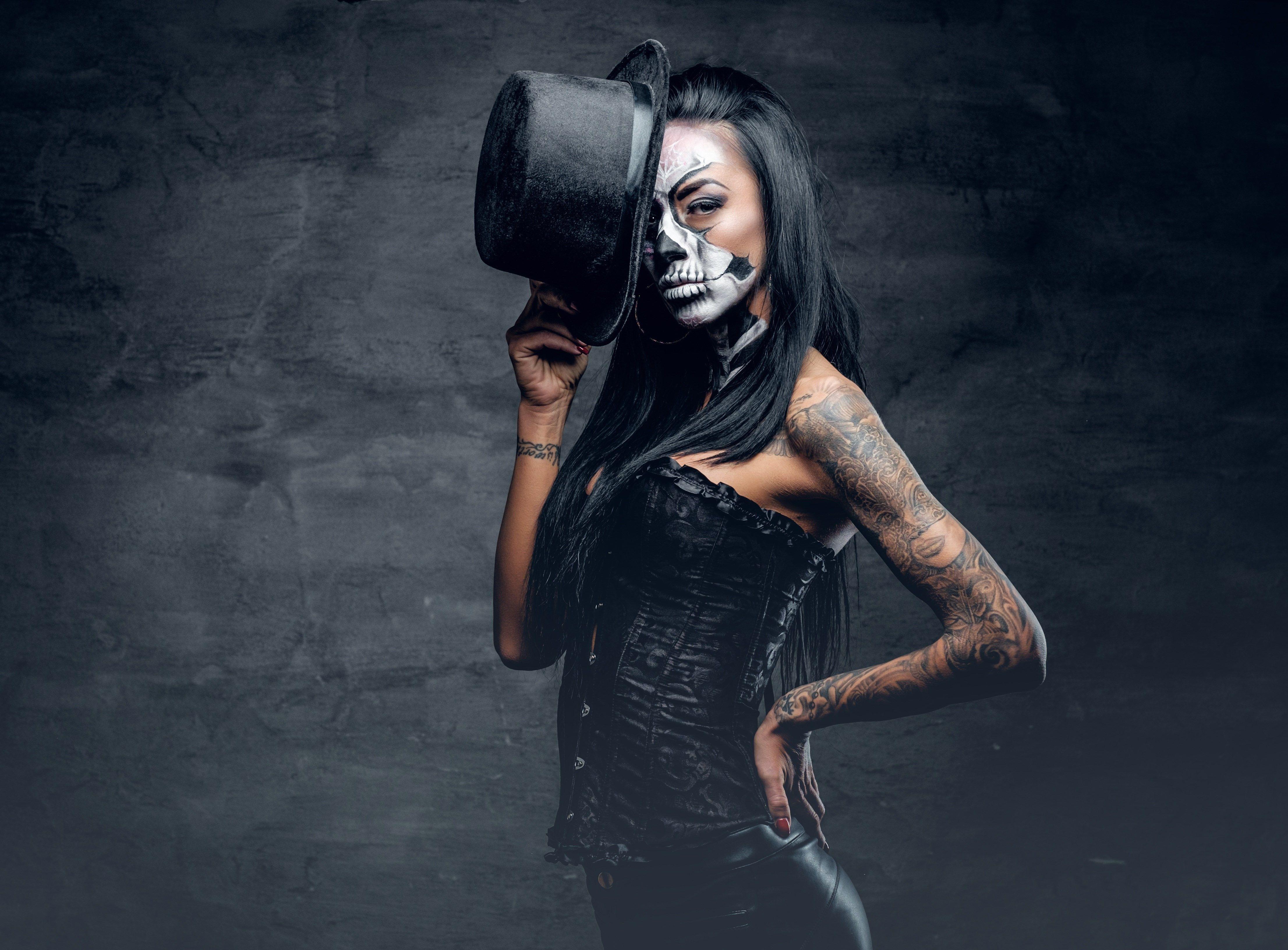 Tattoo 4k Wallpaper 4424x3264 Skull Makeup Halloween