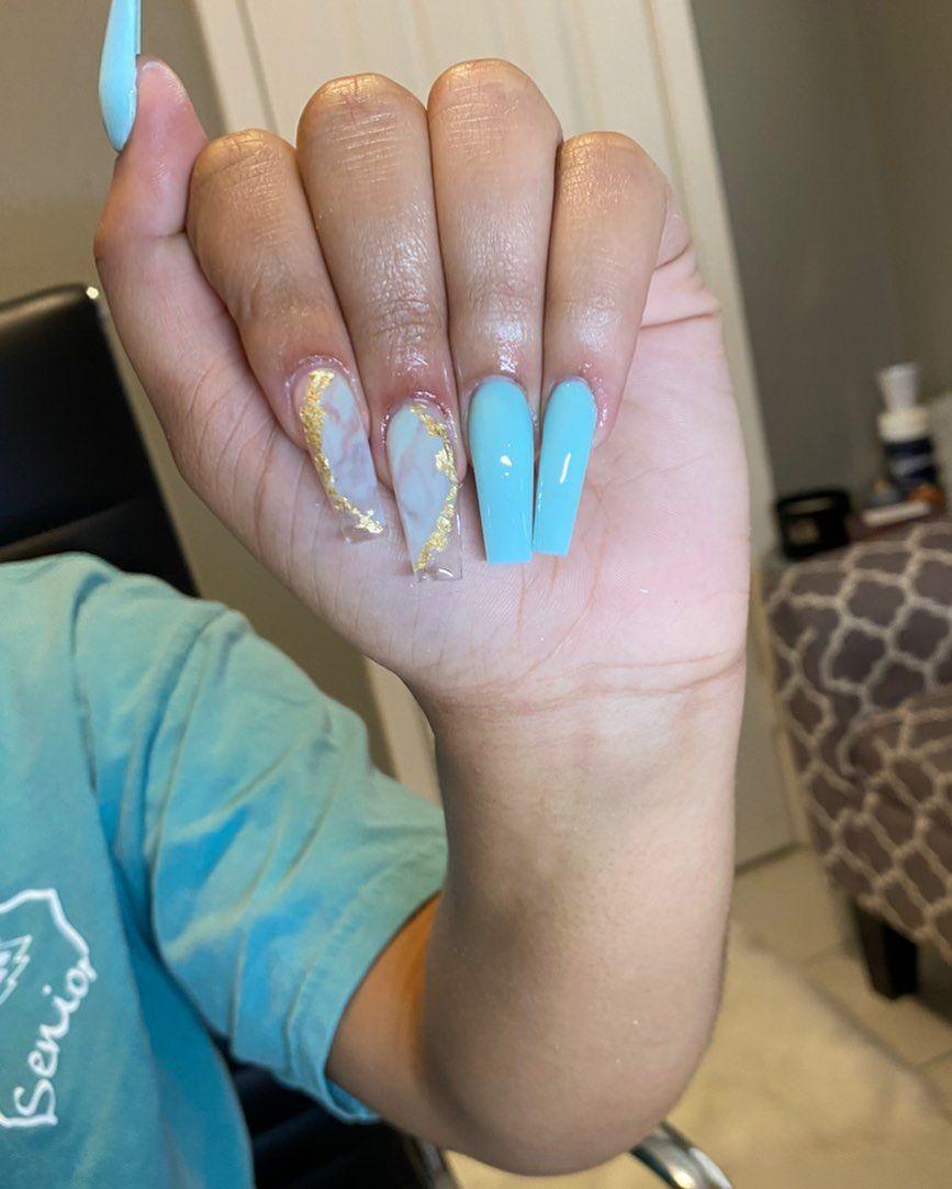 """Conroe, Tx on Instagram: """"👗👗#nails #marblenails #coffinnails #nailshapes #nailinspo #nails2inspire #nailideas #naillove #nailart #nailsart #bluenails #mintnails…"""""""