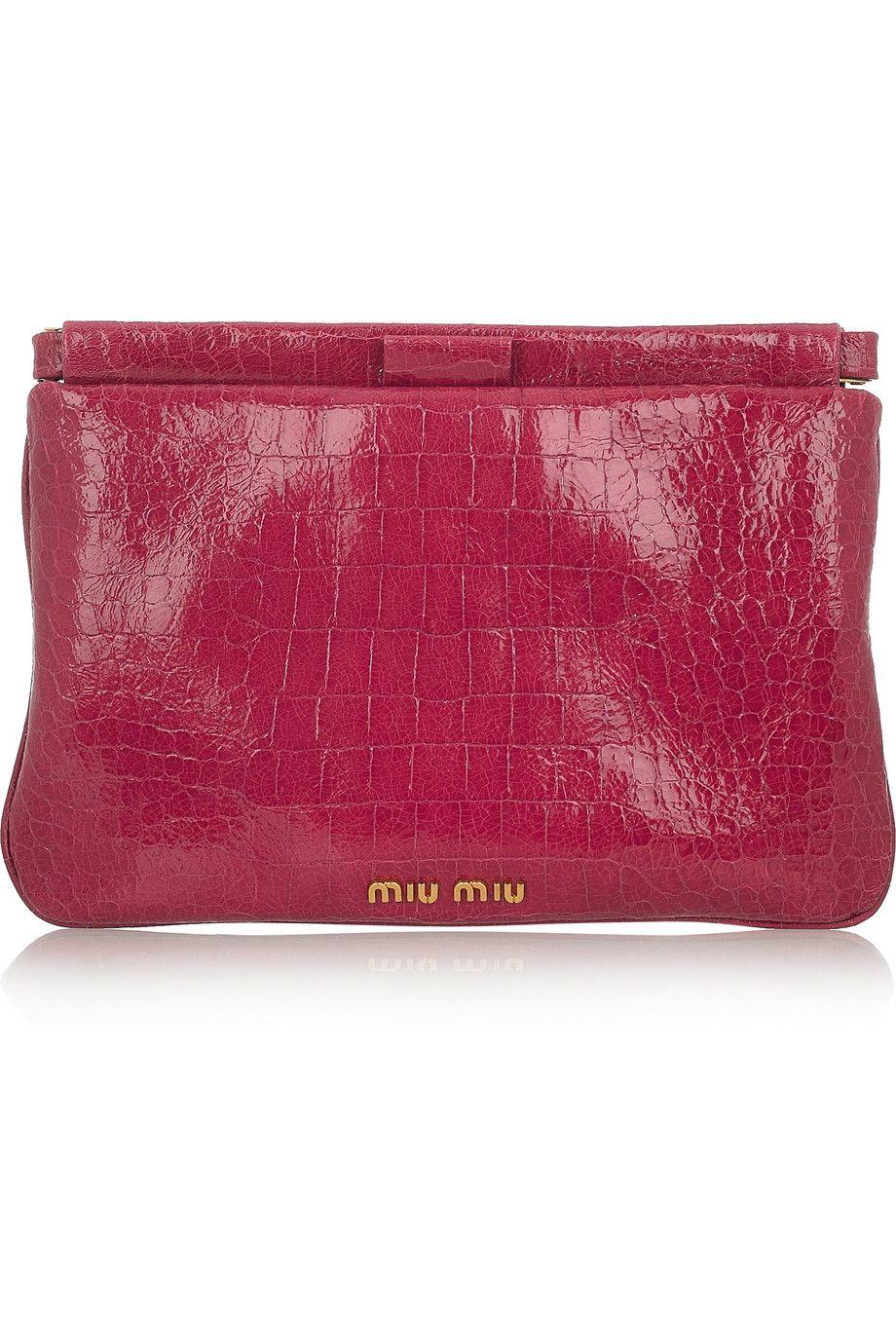 42a4dfde5a0 MIU MIU Croc-effect patent-leather clutch   Style Wishlist   Miu miu ...