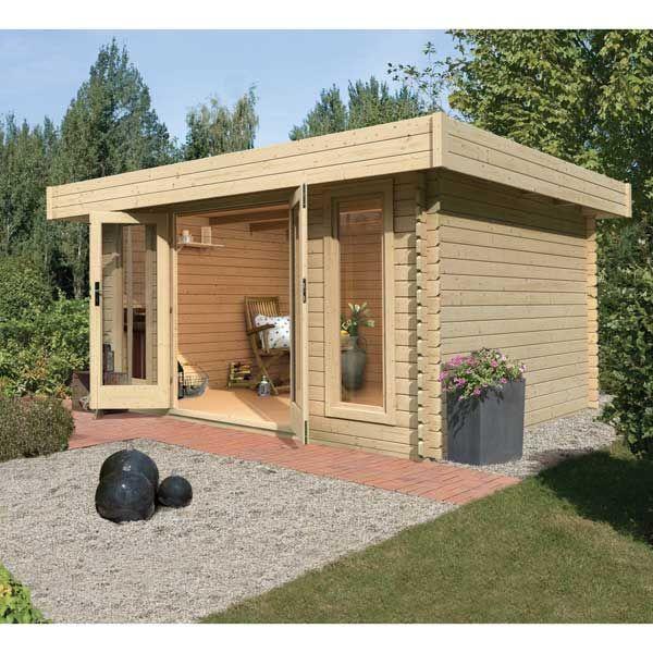 Abri de jardin en bois toit plat 11,47m² - 28mm Karibu - Maison