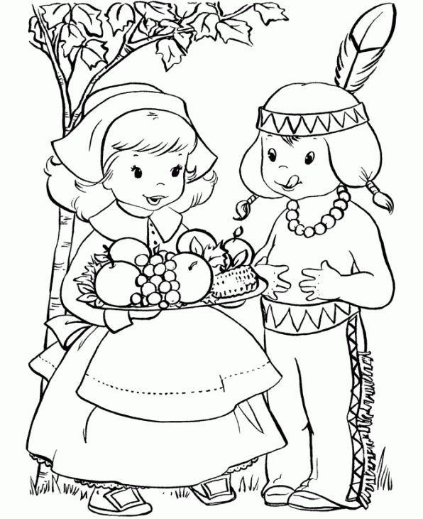 A pilgrim girl and an indian boy in thanksgiving coloring page