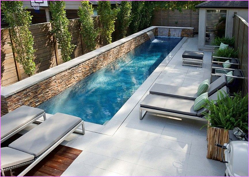 Lap pool in small backyard google search screened hot for Pool design with hot tub