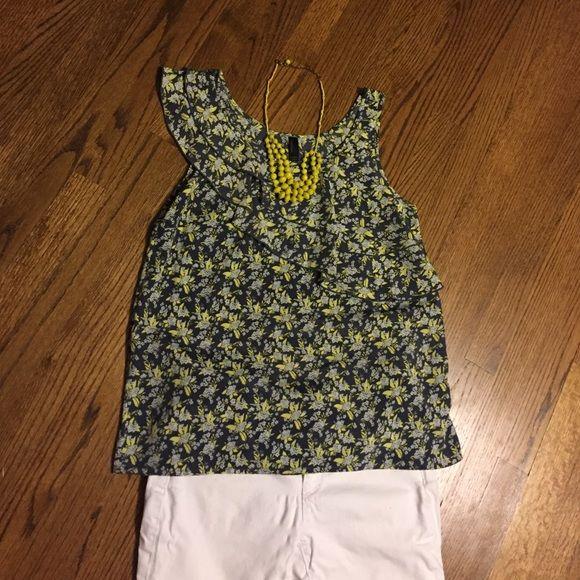 Asymmetrical woven top Bright, woven printed top. Flirty, layered asymmetrical design. 100% polyester. Like new condition. Vero Moda Tops Tank Tops
