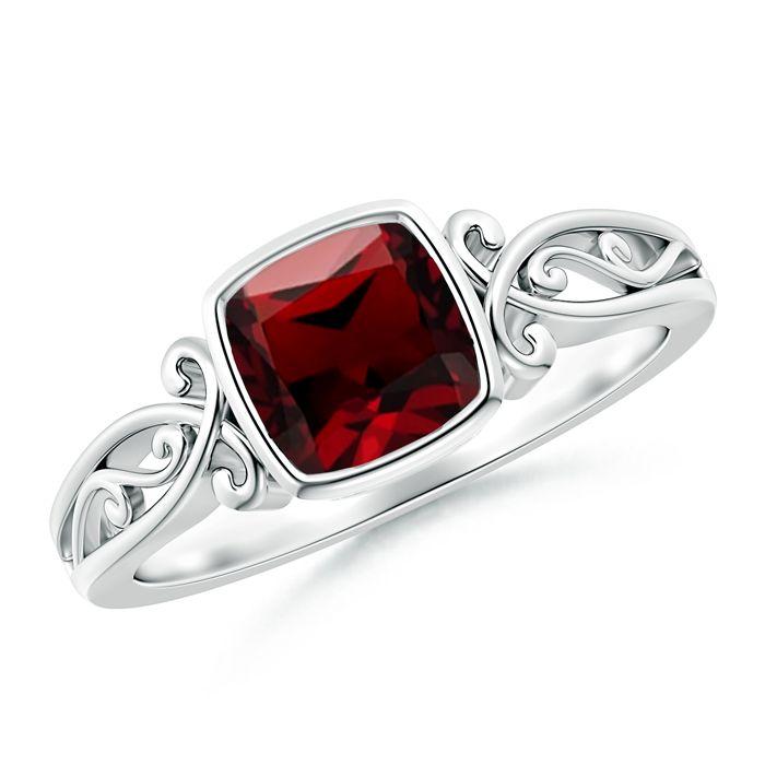Angara Claw Set Emerald Cut Garnet Ring with Diamond Accents UudRrN0HYS