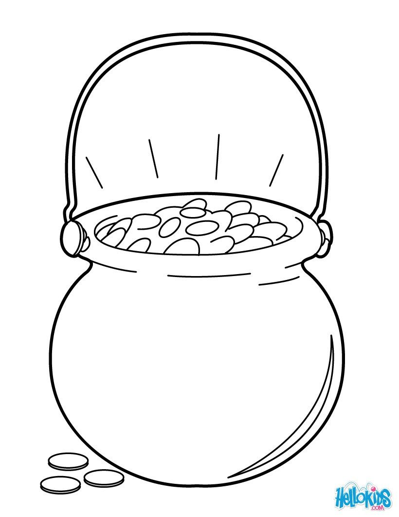 Pot Of Gold Coloring Page Coloring Pages Printable Flower