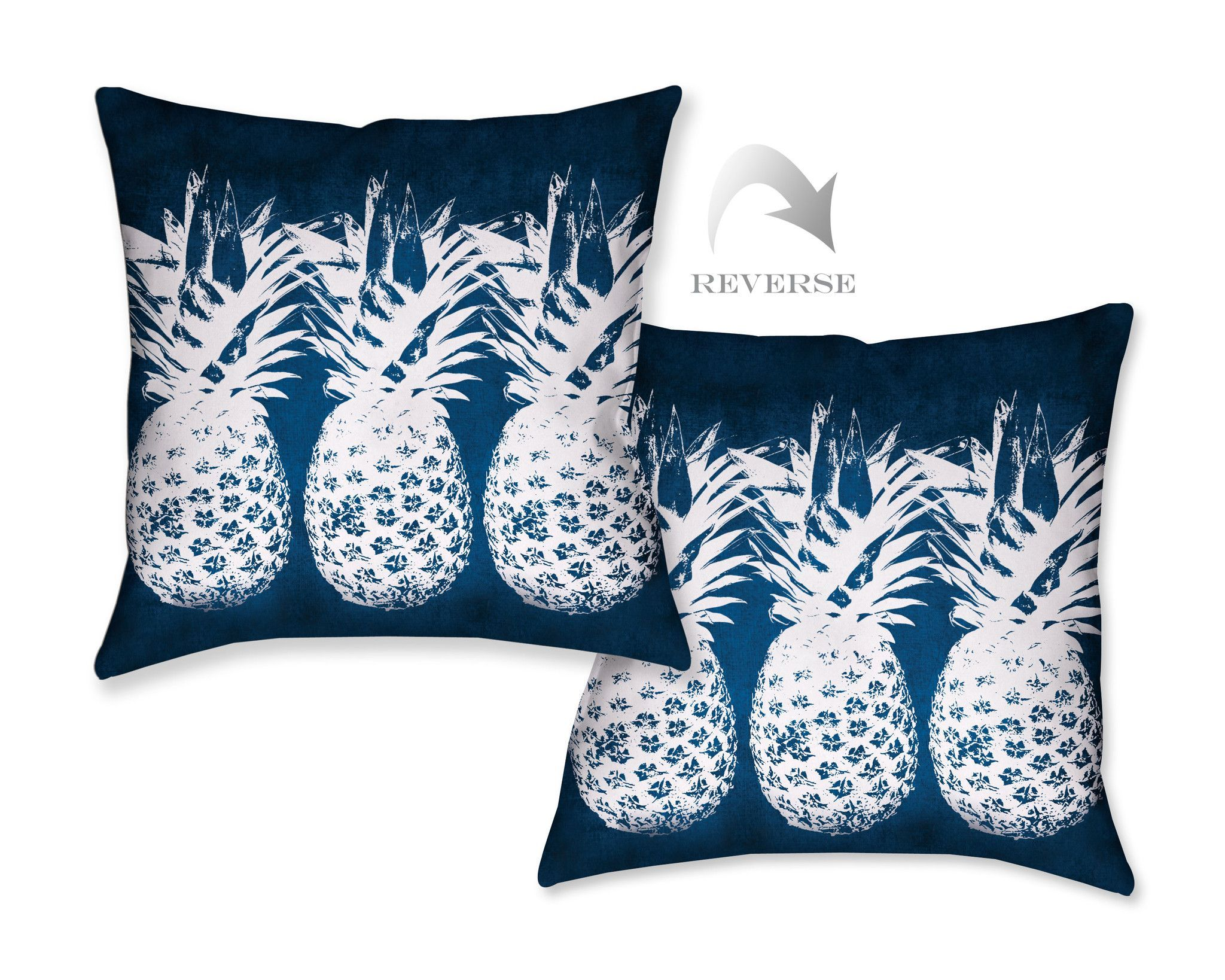indigo pineapples decorative pillow