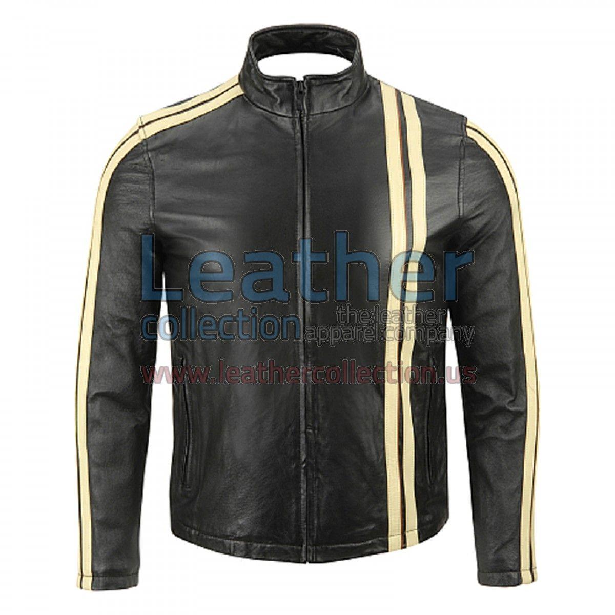 Leather jacket yellow stripe - Vertical Stripe Leather Jacket Genuine Leather 0 9 1 0 Mm Original Ykk Full