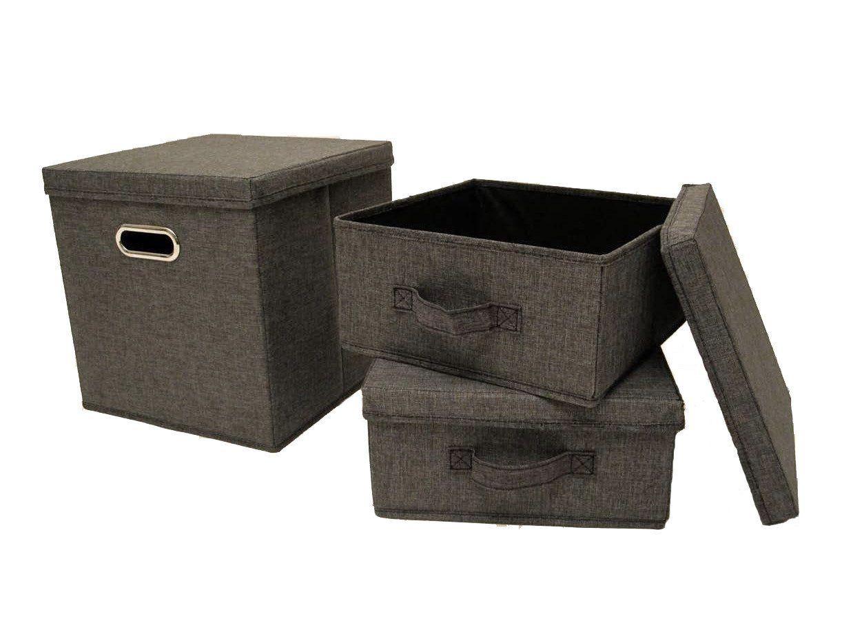 Ordnungsboxen Grau 3er Set Aufbewahrungsboxen Stoff Aufbewahrungskorb Mit Deckel Faltbar S Aufbewahrungsbox Aufbewahrungskorbe Aufbewahrungskorb Mit Deckel