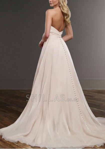 Sweetheart neckline A-line soft organza has a figure-flattering detachable waist band, and an elegant train - 1640782 - Wedding Dresses