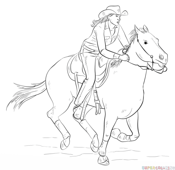 How to draw cowgirl on a horse step by step Drawing tutorials for