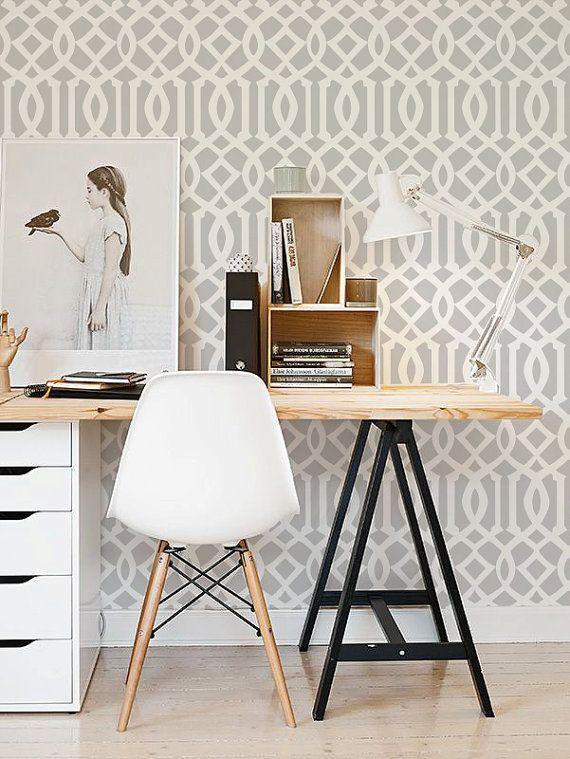 Self Adhesive Peel And Stick Wallpaper Trellis Pattern 102 Whisper Snow Home Office Decor Home Office Design Interior