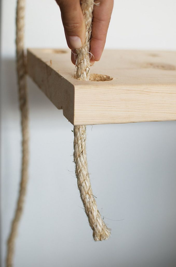 Diy Hanging Rope Shelves With Images Hanging Rope