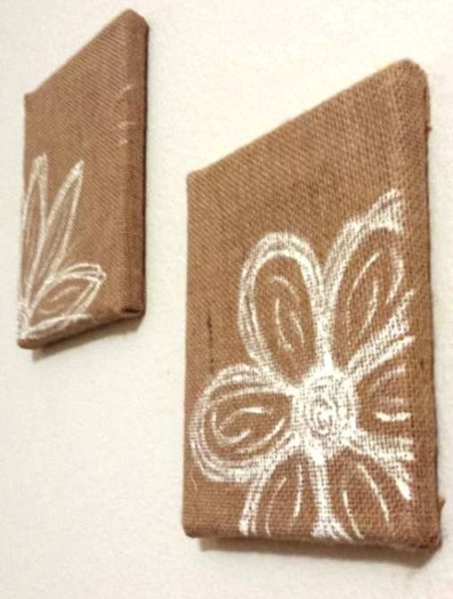 Flowers On Burlap Canvas By Strokesofauburn On Etsy 10 00 Paint
