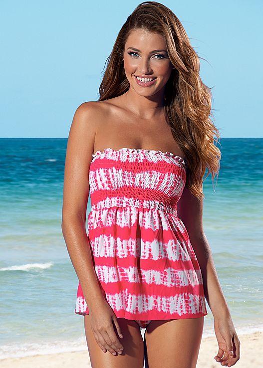 Keep calm and let's go to the beach! Venus smocked tankini top, and high waist full cut bikini bottom.