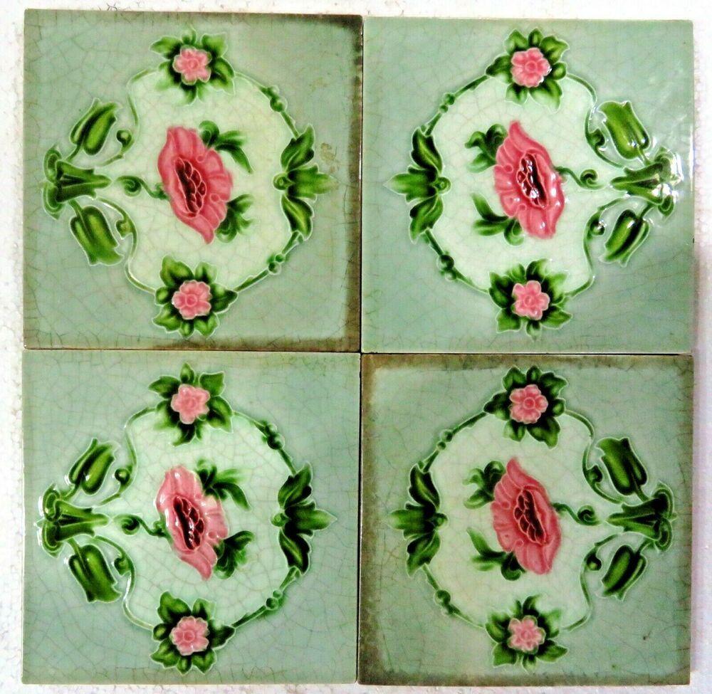 "Vintage Majolica Glazed 6""x 6"" Ceramic tile art nouveau ..."