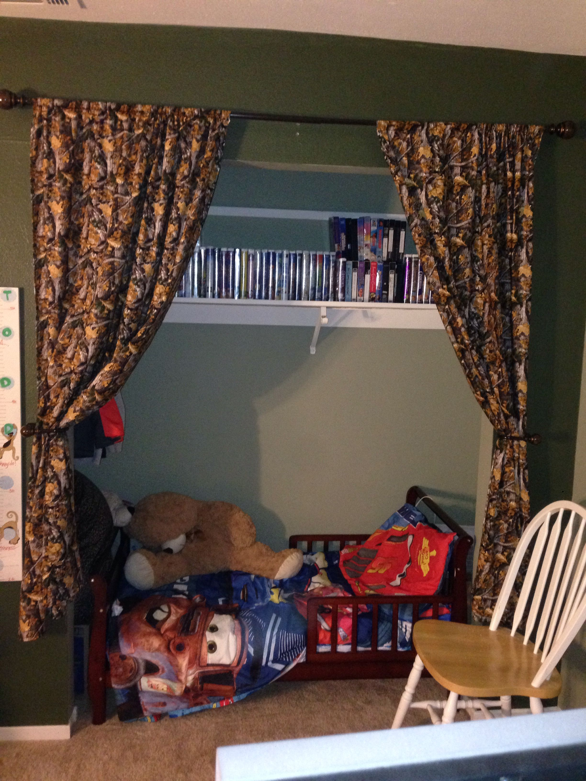 Home Made Curtains Shelves Toddler Bed In Closet Nursery To Room