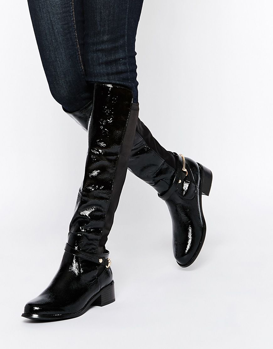 Buy Women Shoes / River Island Patent Knee High Flat Boot