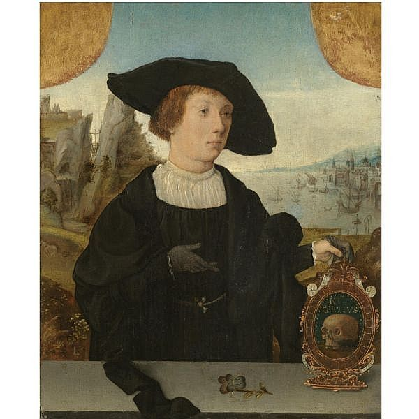 Jan Mostaert, Portrait of a Young Man with a memento mori, mid-1520s (Sotheby's)