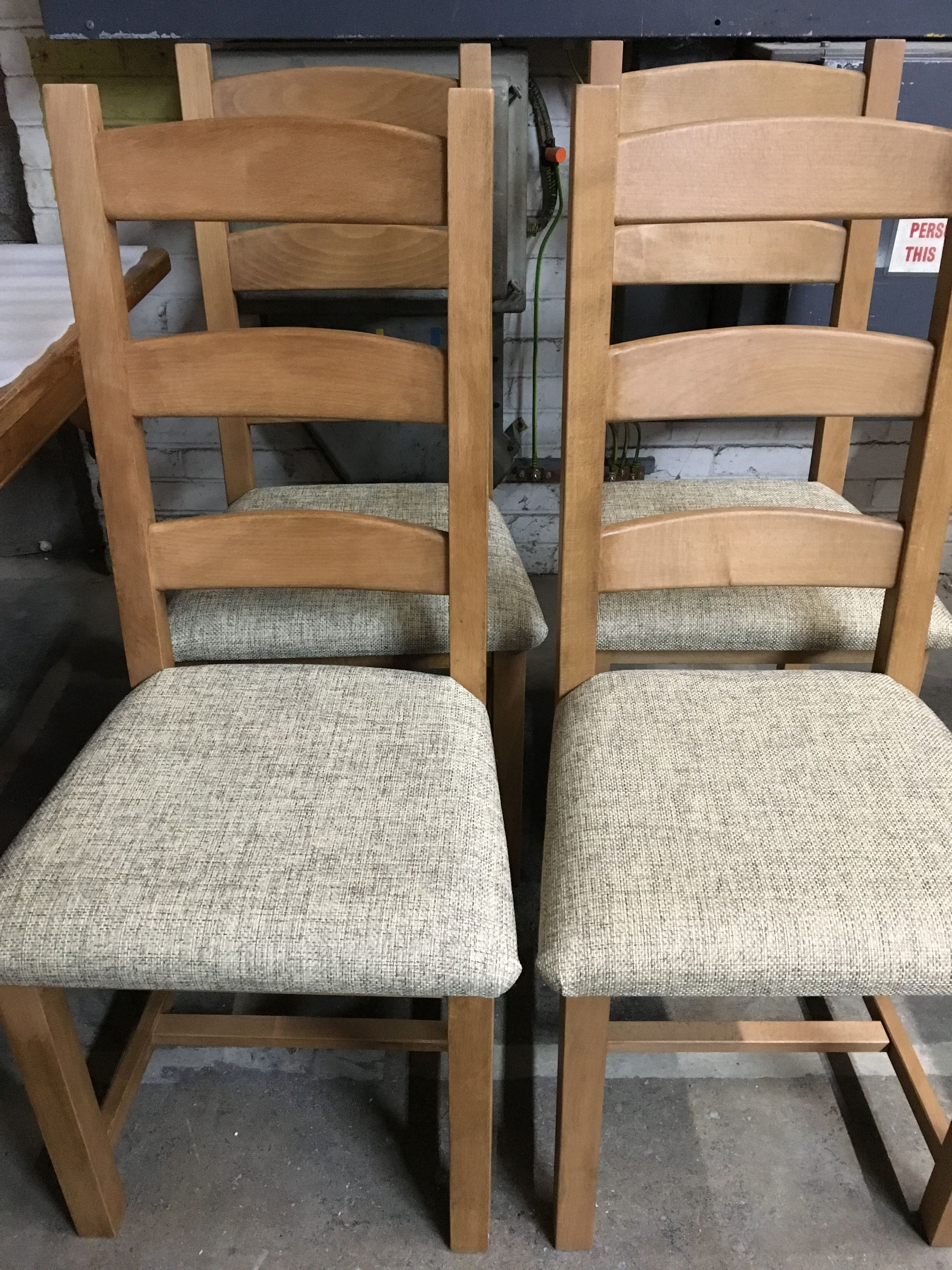 Ladder Back Waxed Chairs With A Fabric Seat Pad These Look Great - Table pad fabric